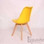 Scaun galben din plastic cu piele ecologica, Set 4 bucati3