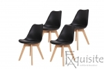 Scaune negre, sezut din piele ecologica, Set 4 scaune0