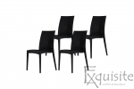 Scaun negru pentru terasa - set 4 bucati - plastic imitatie impletitura ratan2