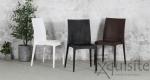 Scaun negru pentru terasa - set 4 bucati - plastic imitatie impletitura ratan3