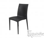 Scaun negru pentru terasa - set 4 bucati - plastic imitatie impletitura ratan0