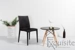 Scaun negru pentru terasa - set 4 bucati - plastic imitatie impletitura ratan1