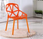 Set 4 scaune portocalii din plastic cu picioare metalice, design Spider1