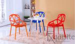 Set 4 scaune portocalii din plastic cu picioare metalice, design Spider2