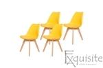 Scaune de bucatarie - set 4 bucati - tapitat cu piele ecologica, design Eames, colorate0