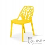 Set 4 scaune pentru terasa, PP, rezistente, galben 0